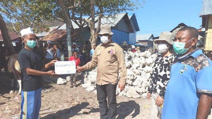 HEWAN-Bupati Sikka sedang menyerahkan hewan kurban bagi umat muslim di Desa Parumaan, Kecamatan Alok Timur.