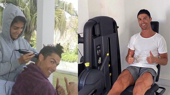 Efek Covid-19,  Cristiano Ronaldo Rela Olahraga dan Pangkas Rambut di Rumah Saja