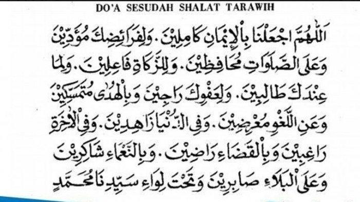 Bacaan Doa Kamilin, Doa Setelah Sholat Taraweh dan Witir,Tulisan Arab,Latin Lengkap dengan  Artinya