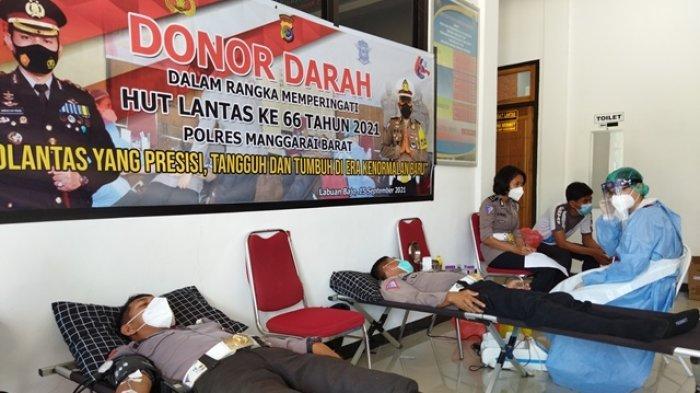 Sambut HUT Lantas ke-66, Satlantas Polres Mabar Gelar Aksi Donor Darah