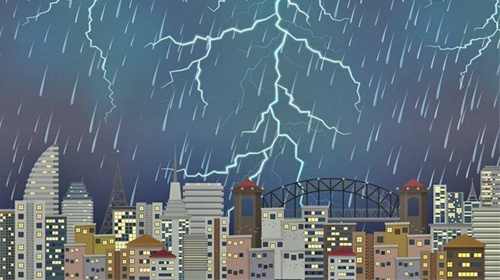 Ilustrasi--Waspadai Cuaca EkstremPeringatan BMKG Senin 15-3-2021: 27 Wilayah Hujan Lebat Angin Kencang & Petir