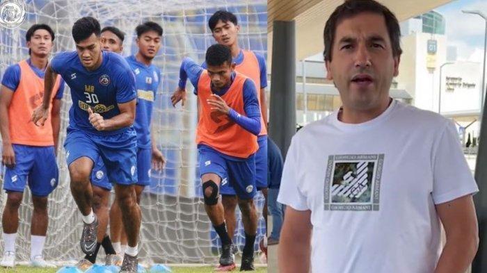 Potret Eduardo Almeida (kanan) dan pemain Arema FC saat berlatih (kiri)