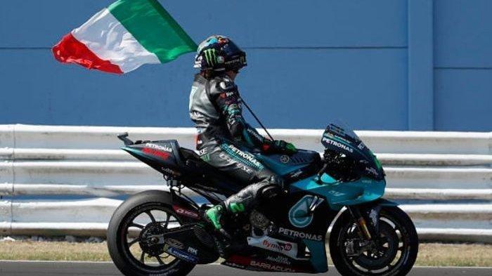 Franco Morbidelli (Petronas Yamaha SRT) dalam sebuah momen pasca perlombaan MotoGP San Marino 2020.