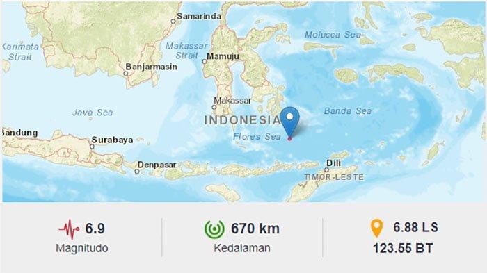 BREAKING NEWS Gempa 6,9 SR Guncang Laut Flores Depan Larantuka, Terasa Sampai Kupang