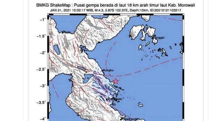 DUA Gempa Bumi Besar Melanda Morowali Sulawesi Siang Ini, Kekuatan Hampir Sama, Berpusat di Laut