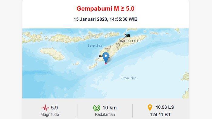 Gempa Kupang 5,9 SR Dirasakan di Tiga Wilayah Kabupaten di Pulau Timor NTT