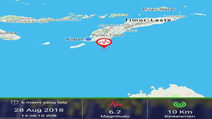 Laut Timor Diguncang Dua Kali Gempa Bumi Berkuatan 6,2 SR dan 5,8 SR