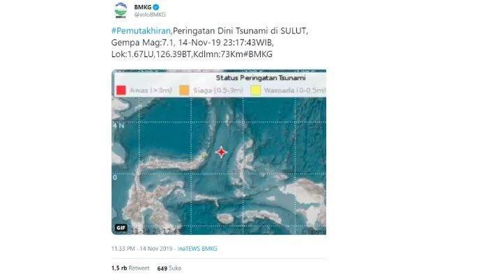 Gempa Manado 7.4 SR,  Peringatan Tsunami untuk Sulut dan Malut