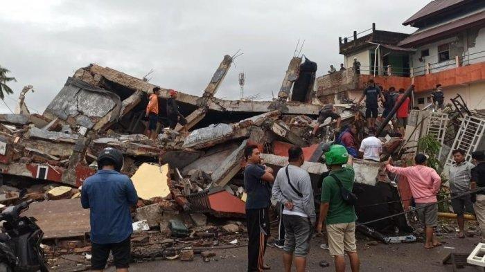 Kondisi dampak gempa bumi magnitudo 6.2 di Kabupaten Mamuju, Sulbar.