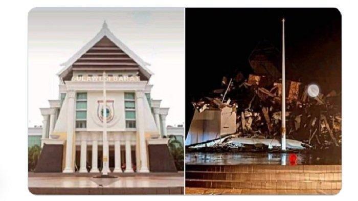 Perbandingan foto Kantor Gubernur Sulawesi Barat sebelum dan sesudah Gempa Majene