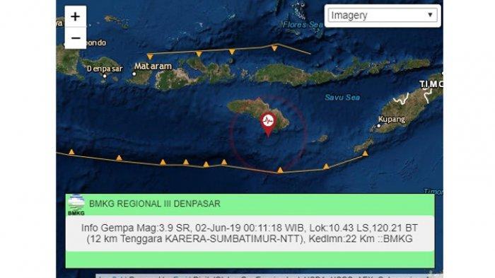 Hari Ini Gempa Bumi Sudah 3 Kali Goyang Pulau Sumba, NTT