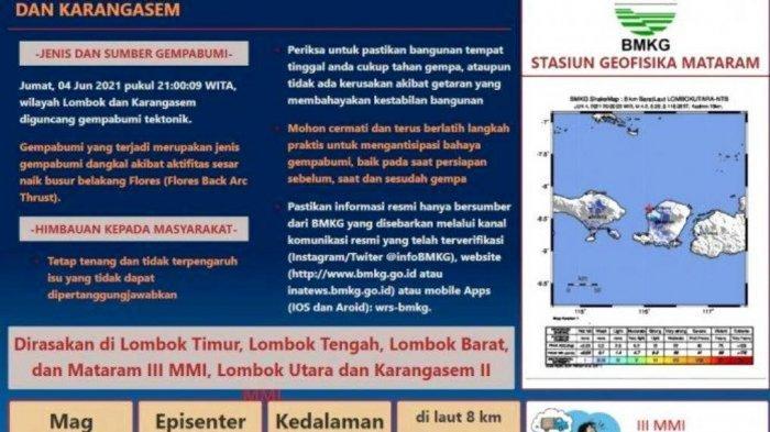 Lombok Diguncang Gempa Bumi Tektonik Magnitudo 4,2 Getarannya Dirasakan Hingga Bali