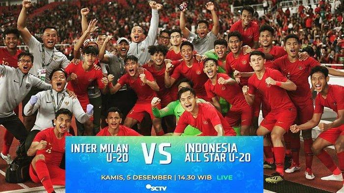 Live Streaming Timnas U-20 Indonesia vs Inter Milan Bali International Cup, Kamis 5/12 Jam 14.30 WIB