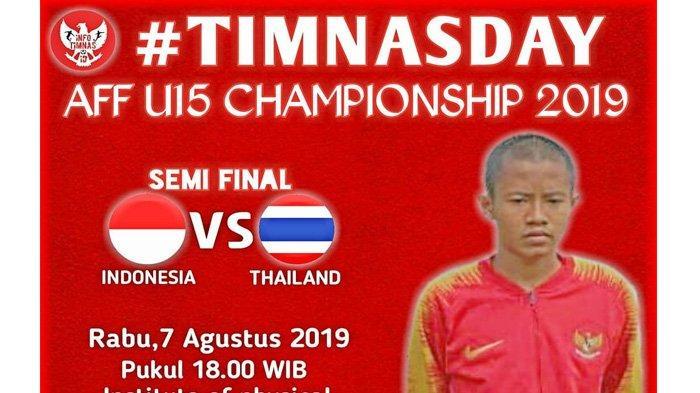 Live Streaming SCTV Indonesia vs Thailand Piala AFF U-15 2019, Rabu (8/7) Jam 18.00 WIB