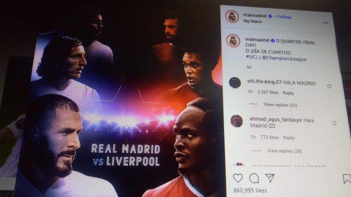 Link Live Streaming Babak Perempat Final Liga Champions Real Madrid Vs Liverpool, M.City Vs Dortmund