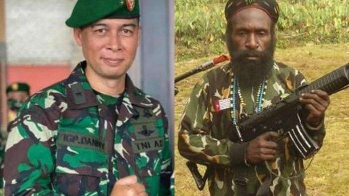 Kabinda Papua I Gusti Putu Danny Karya Nugraha (kiri) dan KKB Lekagak Telenggeng (kanan)