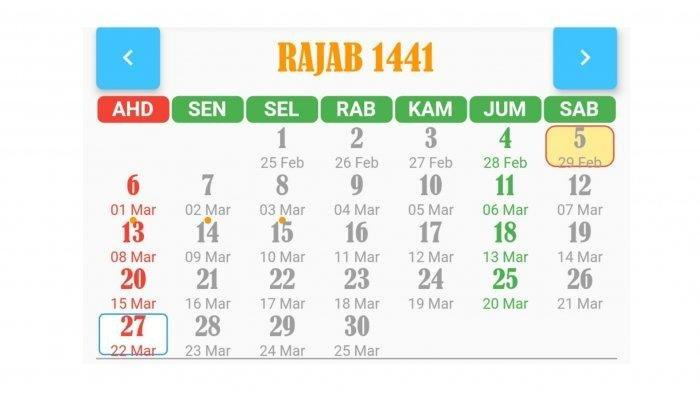 Simak Kalender Bulan Rajab 1441 H Mulai 25 Februari - 25 Maret 2020:Jadwal Puasa Sunnah & Isra Miraj