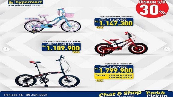 Beli Sepeda Di Hypermart Murah! Diskon Hingga30% Hari ini Kamis 17 Juni 2021