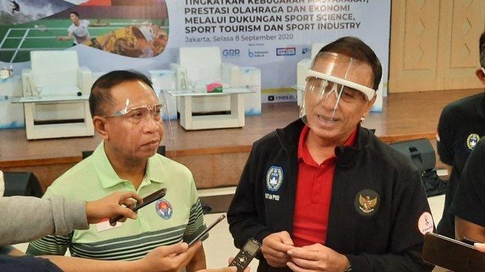 Menpora Zainudin Amali dan Ketua Umum PSSI Mochamad Iriawan di Wisma Kemenpora, Senayan, Jakarta, Selasa (8/9/2020
