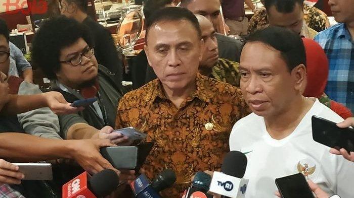 Ketua Umum PSSI, Mochamad Iriawan alias Iwan Bule dan Menpora, Zainudin Amali di Hotel Sultan, Jakarta, Jumat (8/11/2019)