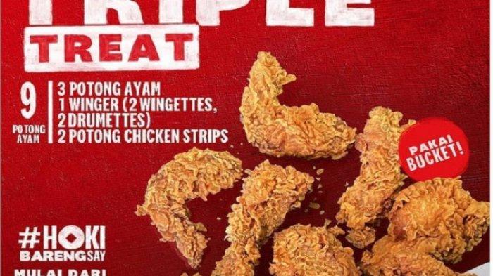 PROMO KFC HARI INI Senin 8 Februari 2021, KFC Triple Treat 9 Potong Ayam Rp 72.727