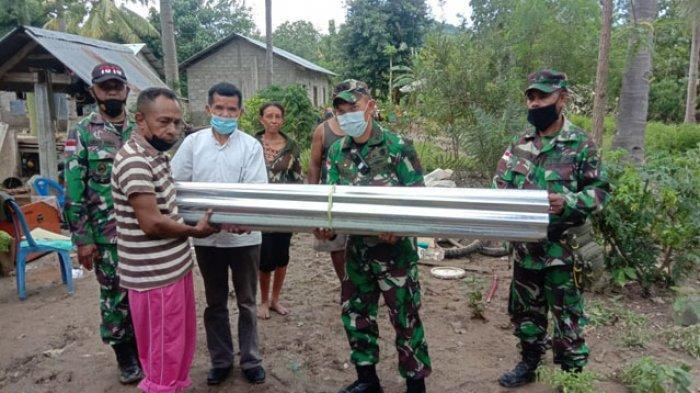 Kodim 1618/TTU Beri Bantuan Material Bangunan Bagi Korban Bencana Banjir di Kefamenanu