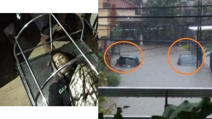 Siswa SMA meninggal dunia karena kesetrum saat banjir melanda Kemayoran Jakarta Rabu dini hari 1 Januari 2020 dan mobil-mobil terendam di Puri Bintara Bekasi karena luapan banjir.