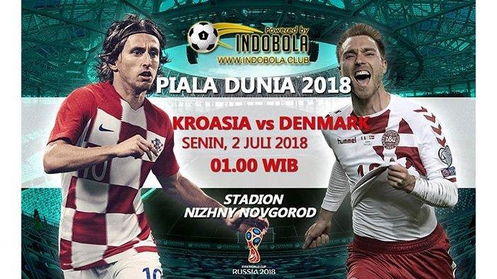 LIVE Trans TV Pukul 01.00 WIB, Kroasia vs Denmark di Babak 16 Besar Piala Dunia 2018