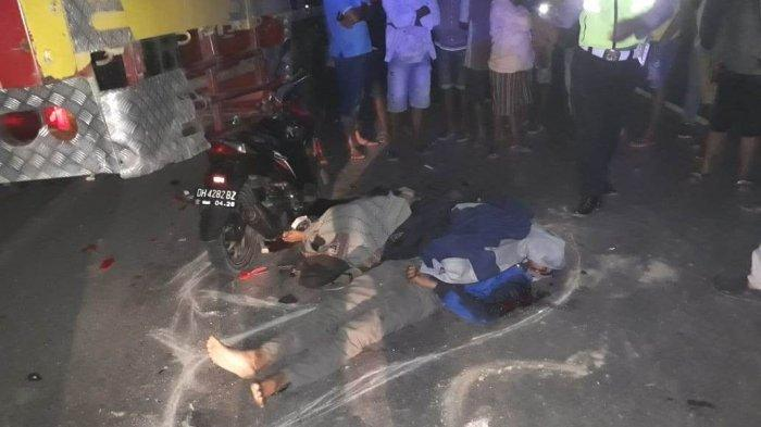 Tabrak Truk Tronton, Pengendara dan Penumpang Sepeda Motor Tewas Ditempat