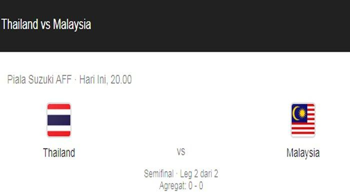 Link Live Bola Malaysia vs Thailand, Live Streaming iNewsTV Semifinal Piala AFF 2018 Malam ini
