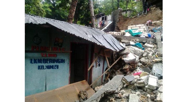 Longsor di Kelurahan Nunleu, Dua Rumah Warga Rusak Berat
