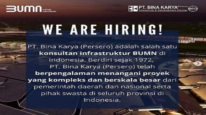 Lowongan Kerja Oktober 2021 BUMN PT Bina Karya Buka 25 Posisi Bagi lulusan S1 S2 S3, Syaratnya?