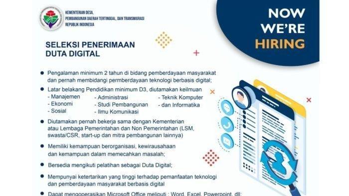Lowongan Kerja Duta Digital Kemendes PDTT Bagi D3 S1 di 17 Kabupaten,  Apa Syaratnya?
