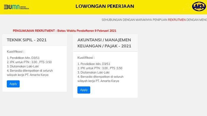 BUMN PT. Amarta Karya Buka Lowongan Kerja 2021 Untuk D3 S1 ...