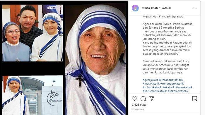 Unggahan Warta Kristen Katolik tentang suter Lucy Agnes , anak orang terkaya di Indonesia