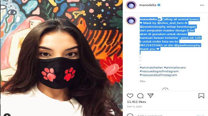 Manohara Odelia Pinot jualan masker untuk membantu hewan terlantar