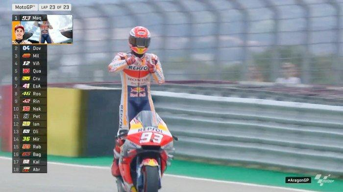 Hasil MotoGP Aragon 2019, Marc Marquez Juara, Andrea Dovizioso 2 & Jack Miller 3, Valentino Rossi?