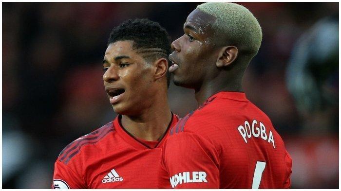Marcus Rashford dan Paul Pogba, pemain Manchester United