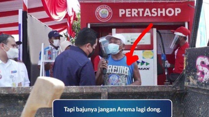 Info Bapak Ini Mau Dirayu Menteri BUMN Erick Thohir Dukung Persis Solo Bensin Full Tank, Buka Baju