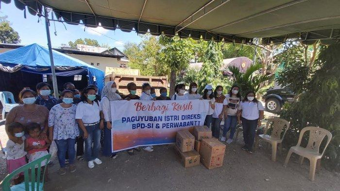Paguyuban Istri Direksi BPD-SI dan Perwabantt Beri Bantuan bagi Warga Terdampak Bencana, Sabtu 17 April 2021 siang.