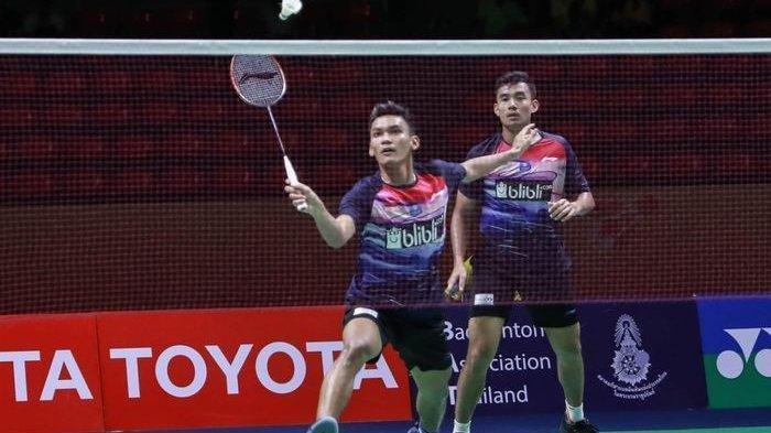 Pasangan ganda putra Indonesia, Bagas Maulana/Muhammad Shohibul Fikri, tampil pada babak 16 Besar Thailand Masters 2020, Kamis (23/1/2020)