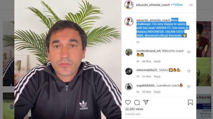 Eduardo Almeida mengunggah video pengumuman terkait status barunya sebagai pelatih Arema FC lewat akun instagram pribadinya, @eduardo_almeida_coach.