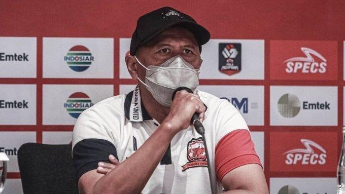 Pelatih Madura United, Rahmad Darmawan (RD) saat jumpa pers jelang laga hadapi PS Sleman.