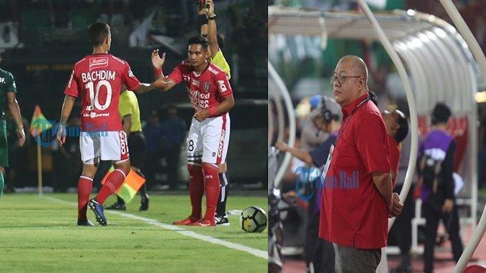 Irfan Bachdim (kanan) saat digantikan Kadek Agung pada menit 31 laga Bali United lawan Persebaya Surabaya, Minggu (18/11) malam di Stadion Kapten Dipta, Gianyar. CEO Bali United Yabes Tanuri.