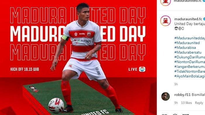 Madura United siap bertanding melawan Persebaya Surabaya, Minggu 28 Maret 2021. Akses link live streaming Indosiar mulai jam 18.15 WIB.