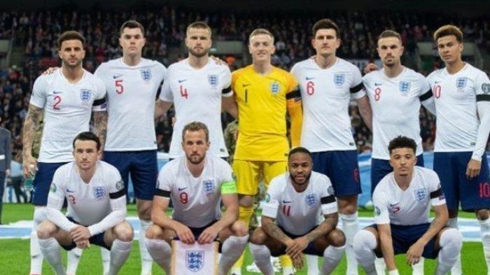 Skuat timnas Inggris dalam laga Grup A Kualifikasi Piala Eropa 2020 kontra Republik Ceska di Stadion Wembley, 22 Maret 2019.