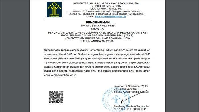 Pengumuman Hasil Tes SKD CPNS 2018 di Kemenkumham Ditunda Lagi, ini Suratnya