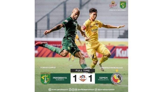 Skor Imbang 1-1 Persebaya Surabaya vs Semen Padang, Ini Pernyataan Pelatih  Persebaya Aji Santoso
