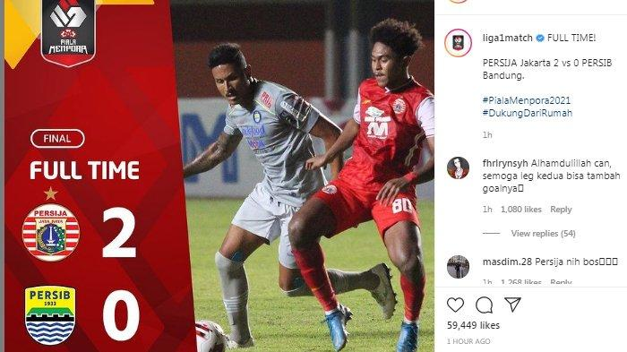 Hasil Final Leg 1 Persija vs Persib - Macan Kemayoran Menang 2-0 atas Maung Bandung