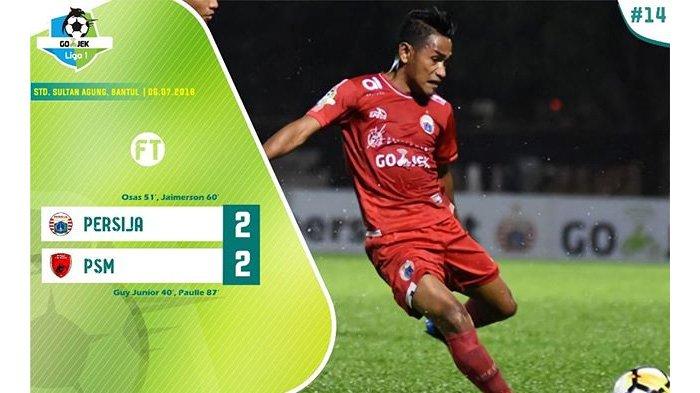 Hasil Pertandingan Persija vs Makassar Liga 1 2018, Kedua Tim Berbagi Skor 2-2